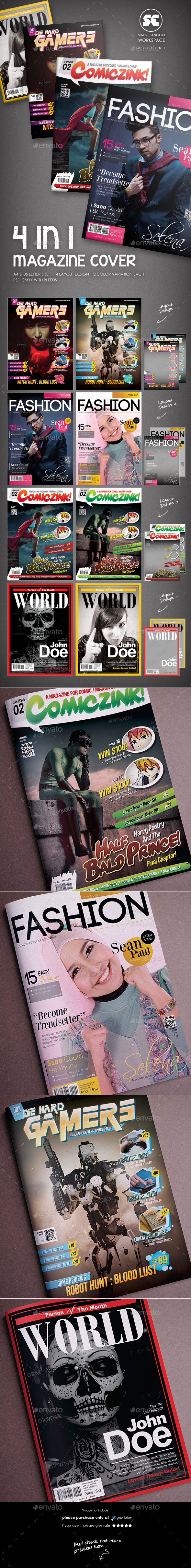 Magazine Cover Template 4 in 1 - Magazines Print Templates