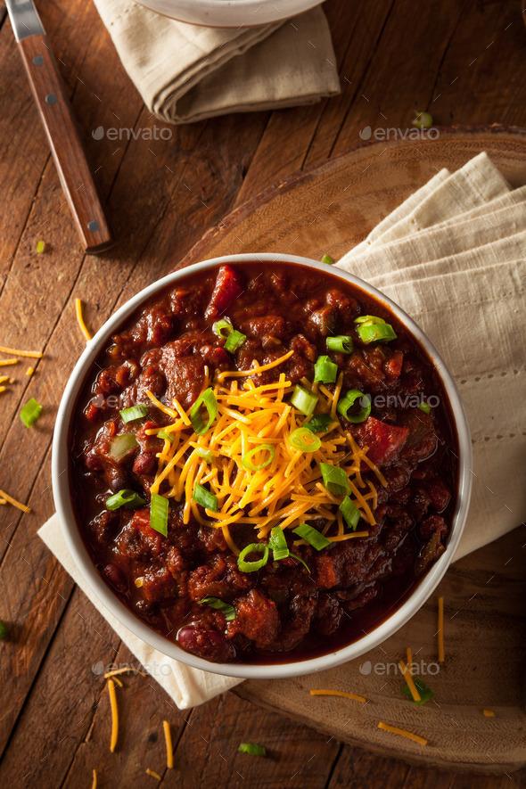 Homemade Organic Vegetarian Chili - Stock Photo - Images