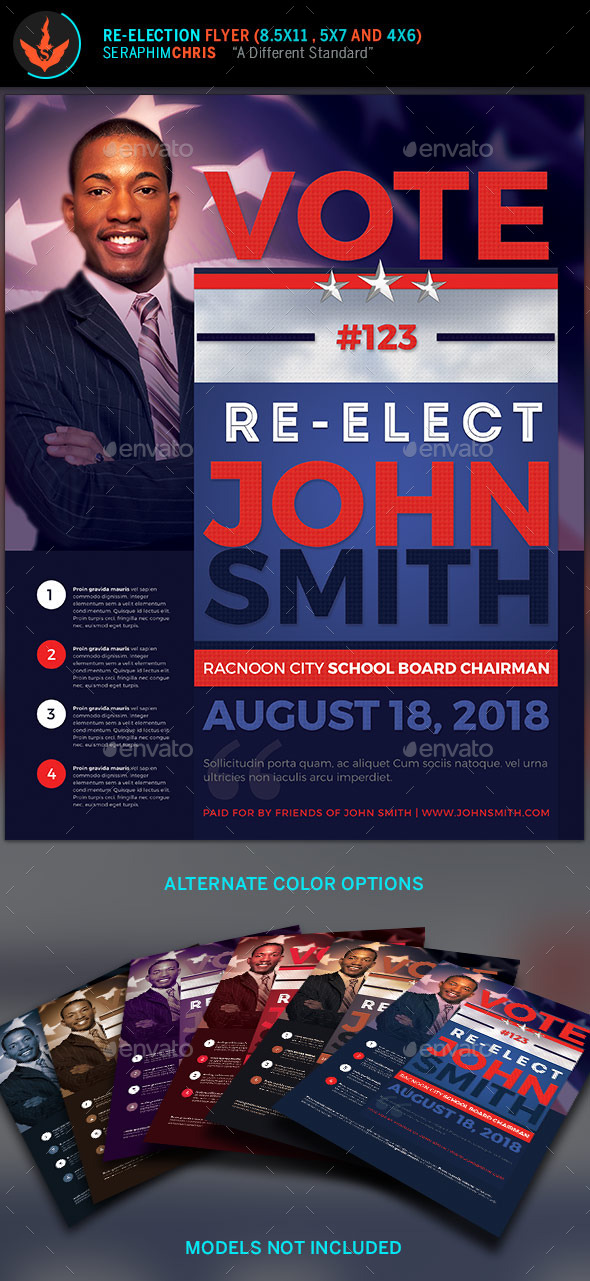 Vote re election flyer templates by seraphimchris for Political brochure templates
