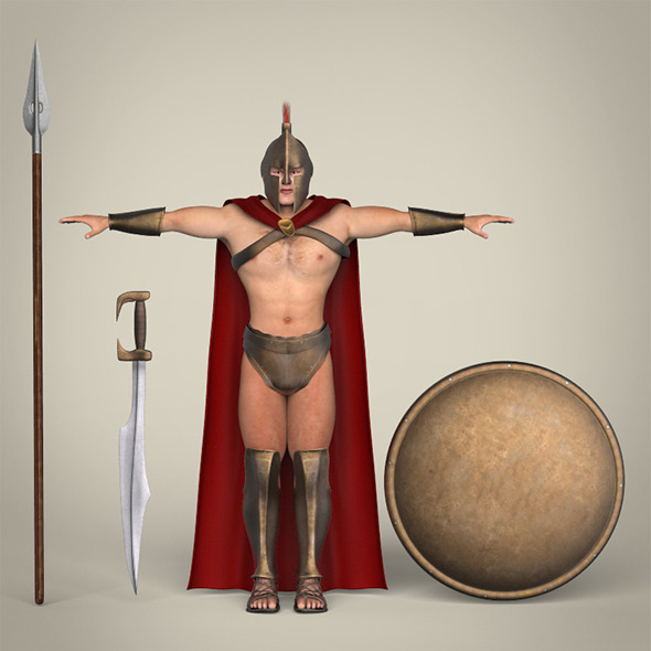 Realistic Spartan Warrior - 3DOcean Item for Sale