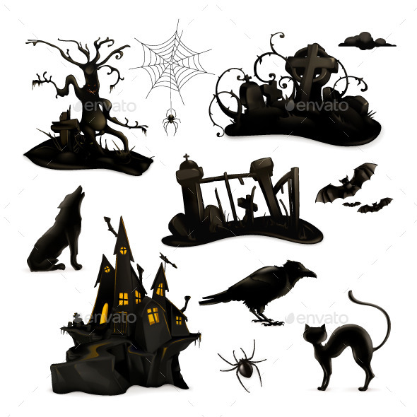 Halloween Black Silhouettes - Vectors