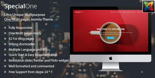 SpecialOne – Multipurpose One/Multi pages joomla