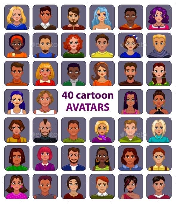 Cute Cartoon Human Avatars Set - People Characters
