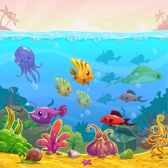 Funny Cartoon Vector Underwater Illustration - Landscapes Nature