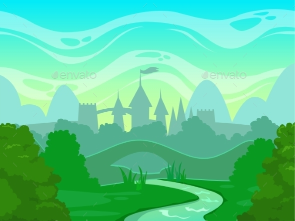 Seamless Cartoon Fantasy Morning Landscape - Landscapes Nature