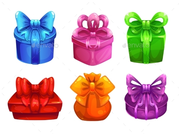 Vector Colorful Gift Boxes With Big Bows - Birthdays Seasons/Holidays