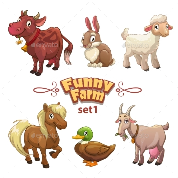 Funny Farm Illustration - Animals Characters