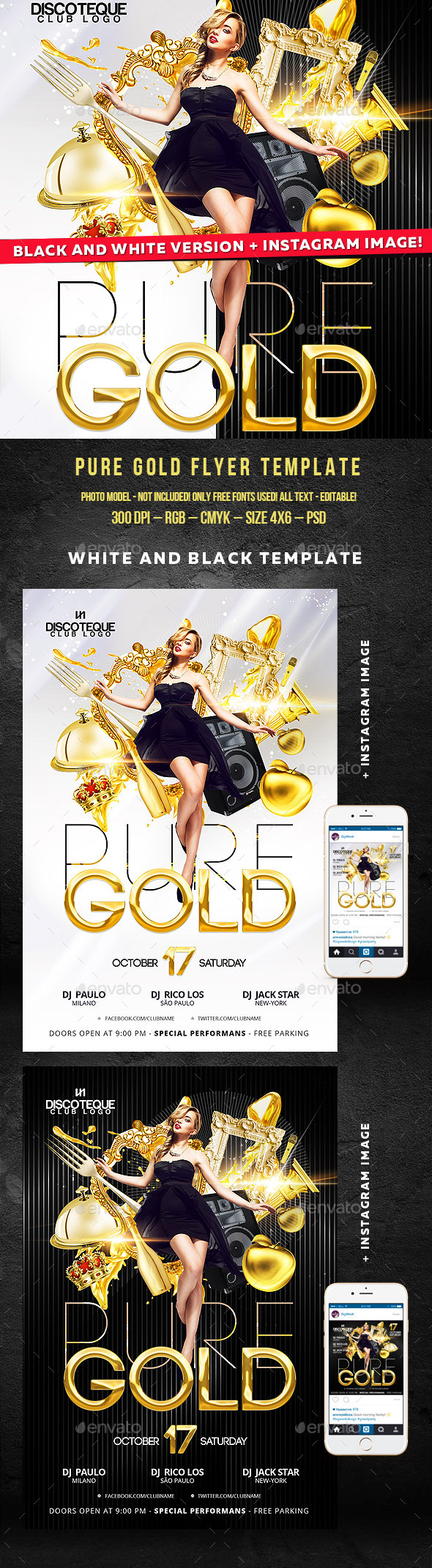 Gold Flyer - Clubs & Parties Events