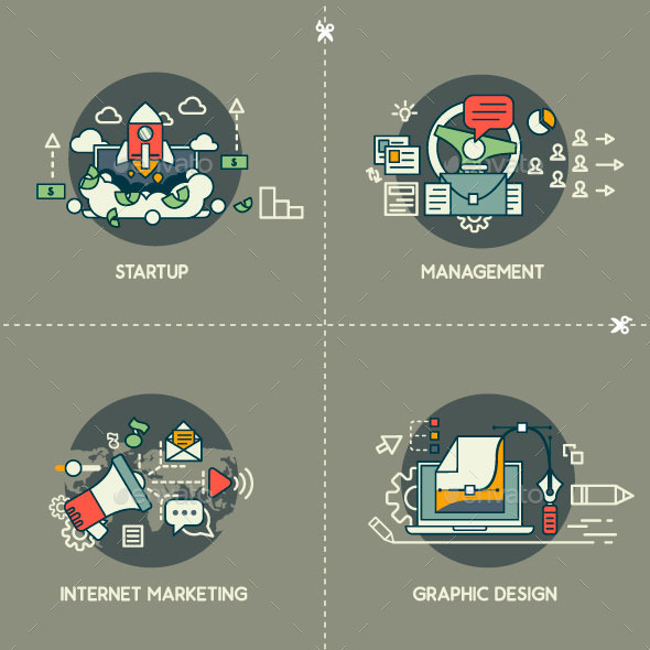 Startup, Management, Marketing, Design - Technology Conceptual