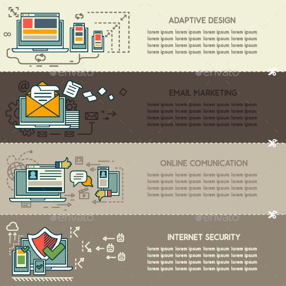 Set Three of Internet Technology Banners - Web Technology