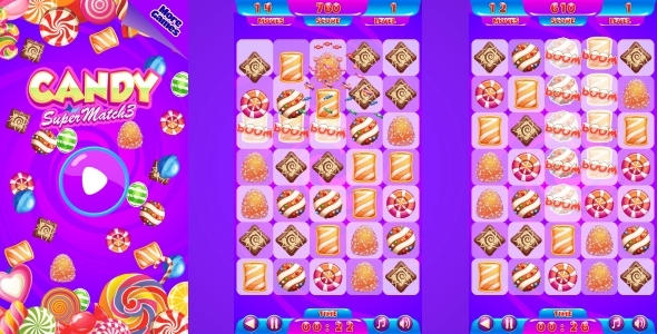 Candy Match3 - HTML5 Mobile Game (Capx) - CodeCanyon Item for Sale