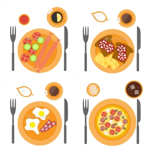 Breakfast Icons Flat Set With Four Options Of Food