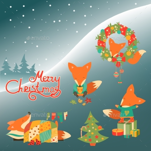 Set Of Cute Fox - Christmas Seasons/Holidays