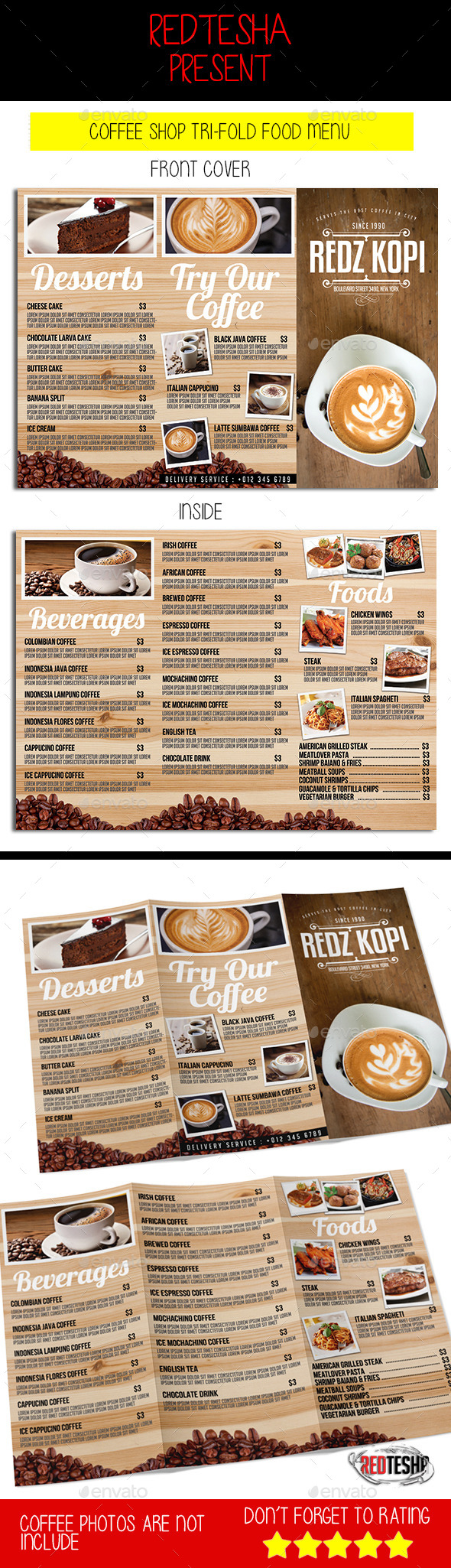 Coffee Shop Tri-fold Menu