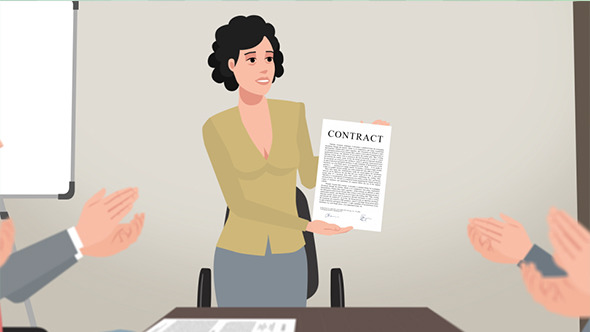 Cartoon Corporate Woman Shows Business Contract