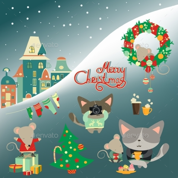 Set Of Cute Cat With Little Mouse - Christmas Seasons/Holidays