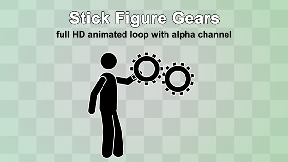 Stick Figure Turning A Gears