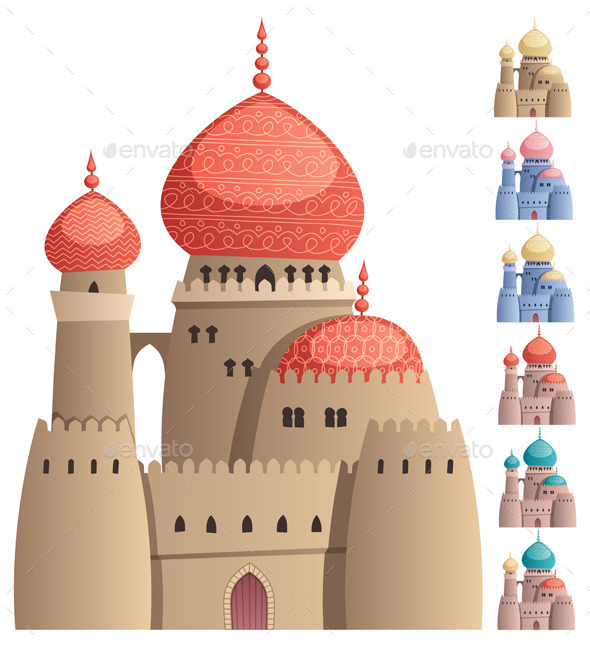 Arabian Castle on White