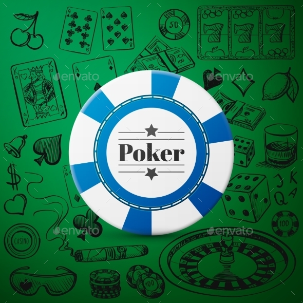 Hand Drawn Casino Collection With Single Blue - Decorative Symbols Decorative
