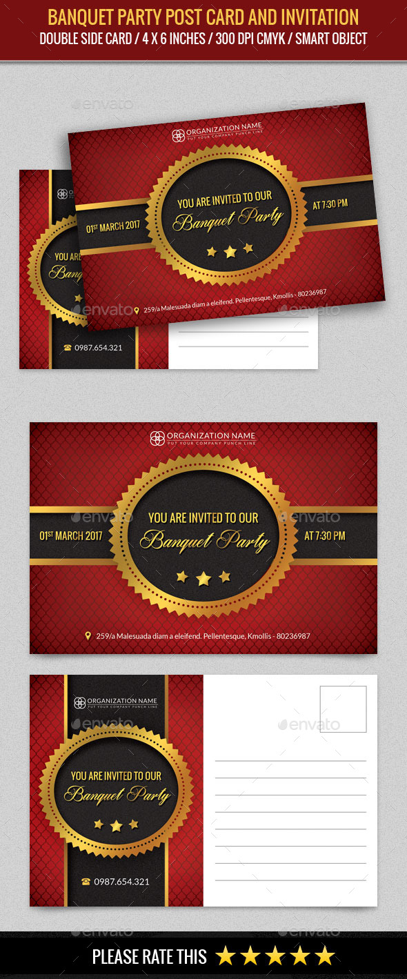 Banquet Party Post Card Template - Cards & Invites Print Templates