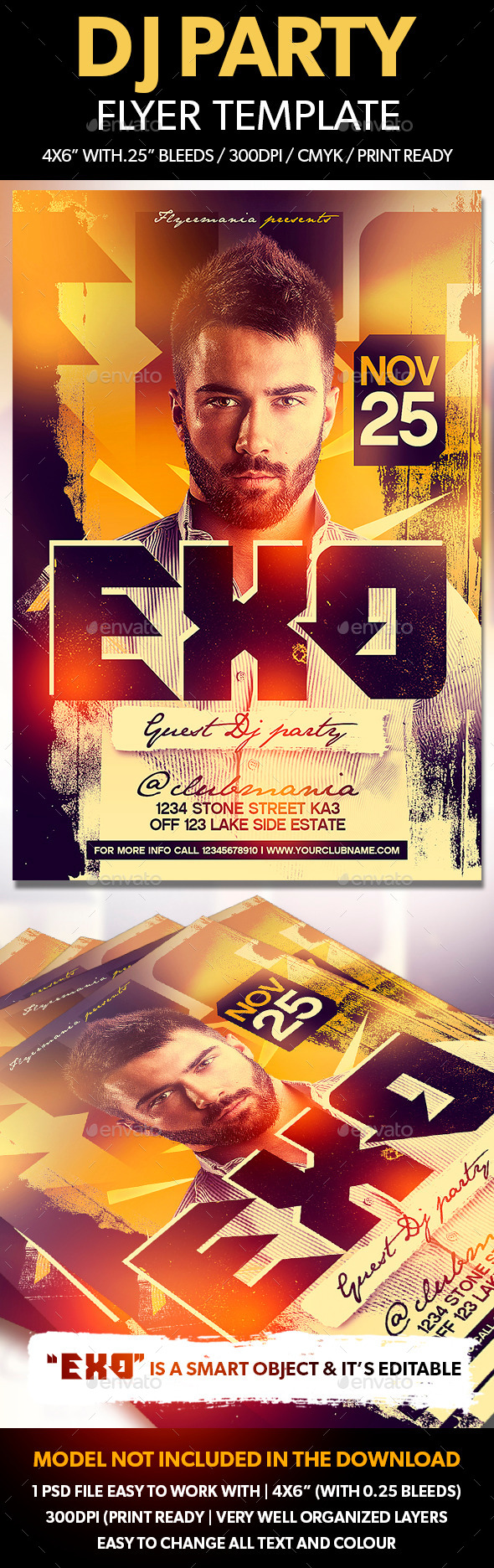 DJ Party Flyer Template  - Clubs & Parties Events