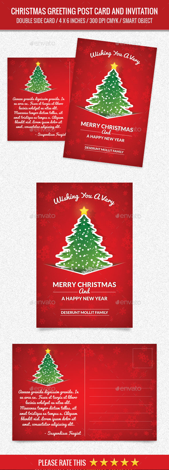 Christmas Greeting and New Year Post Card