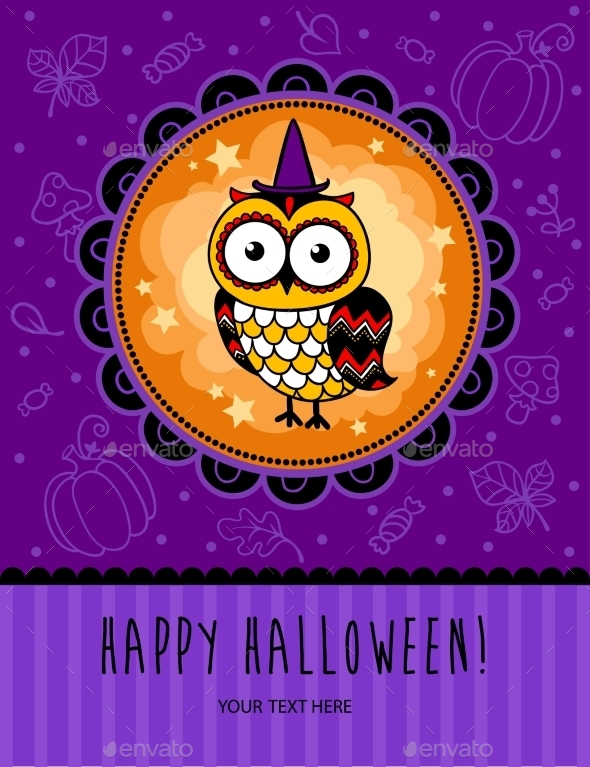 Halloween Card with Owl - Halloween Seasons/Holidays