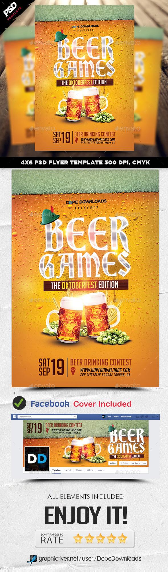 Beer Games Oktoberfest Edition Flyer - Events Flyers