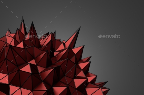 Abstract 3D Rendering Of Red Chaotic Surface. - Tech / Futuristic Backgrounds