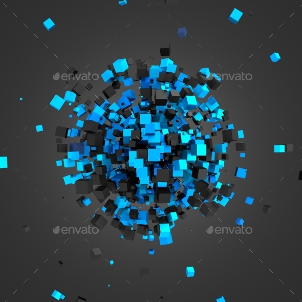 Abstract 3D Rendering Of Flying Cubes. - 3D Backgrounds