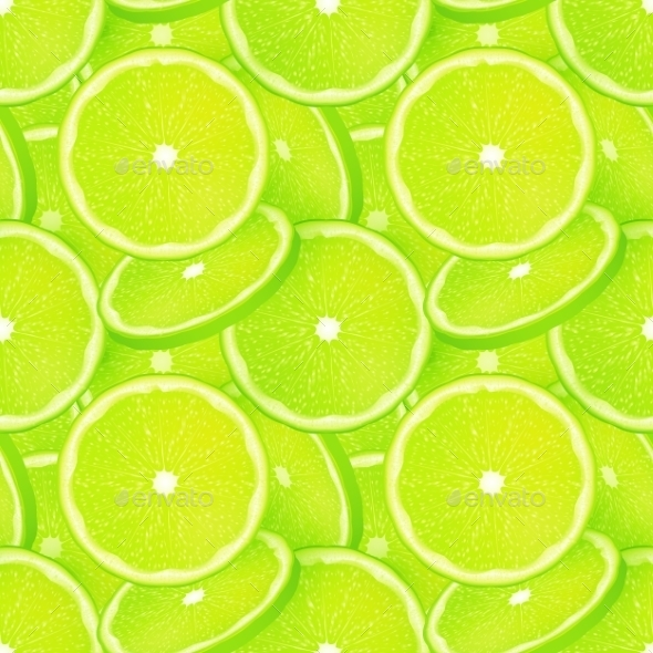 Green Juicy Lime Slice Vector Seamless Pattern - Food Objects
