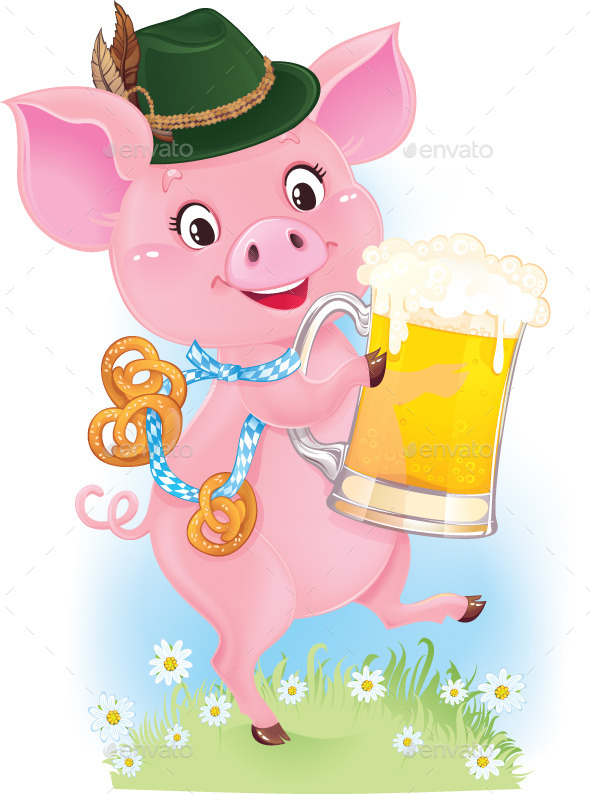 Happy Smiling Piglet with Beer