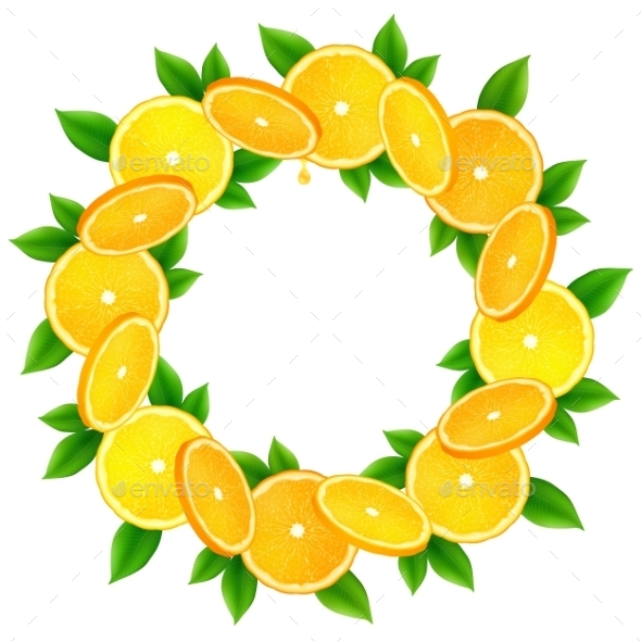 Orange Slices With Leaves Vector Round Frame