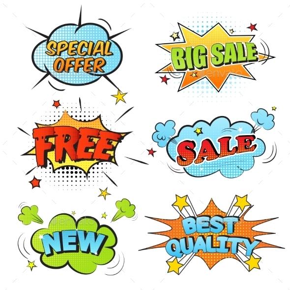 Set Of Cartoon Labels - Decorative Symbols Decorative