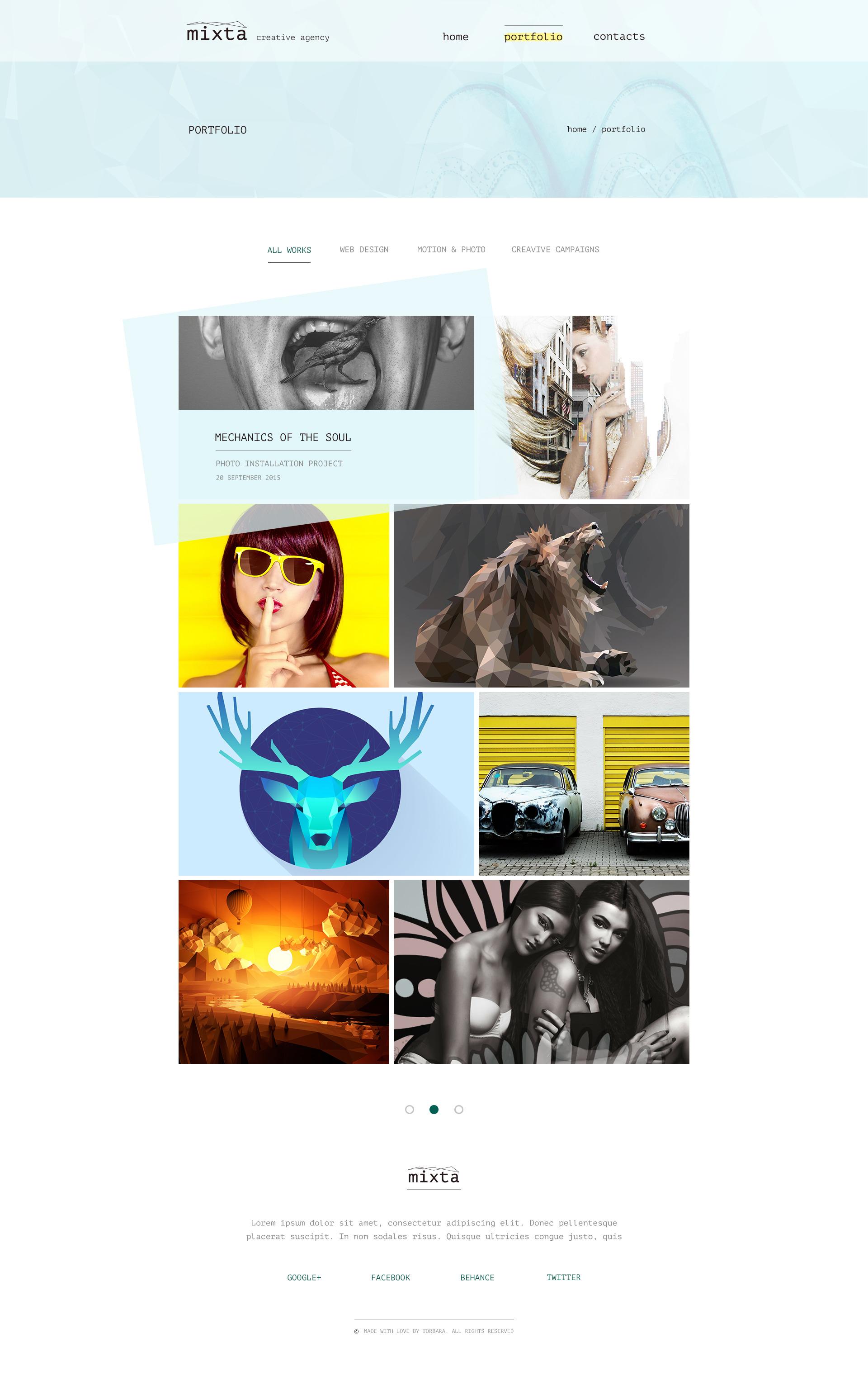 mixta  u2014 creative agency  portfolio psd template by torbara