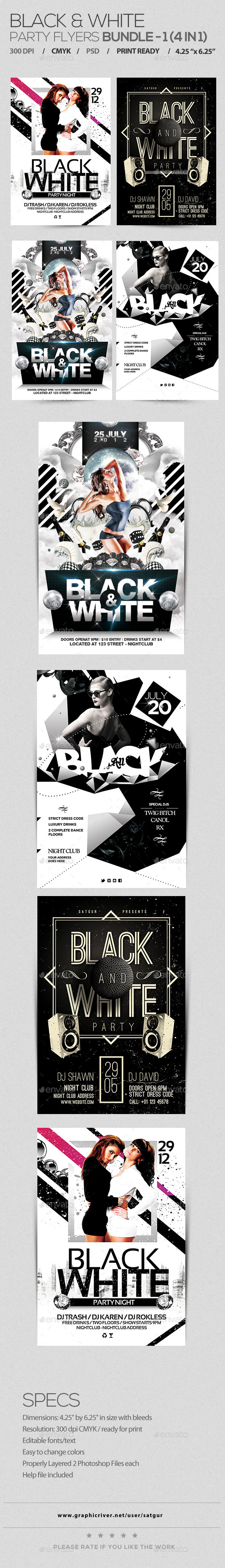 Black and White Party Flyers Bundle - Clubs & Parties Events