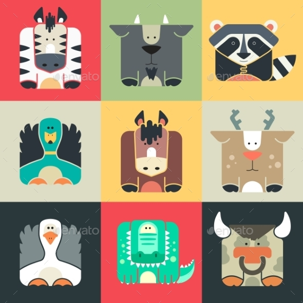 Set Flat Square Icons Of a Cute Animals - Animals Characters