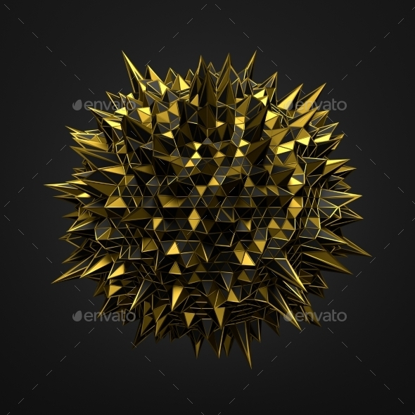 Abstract 3D Rendering Of Gold Chaotic Surface. - Tech / Futuristic Backgrounds
