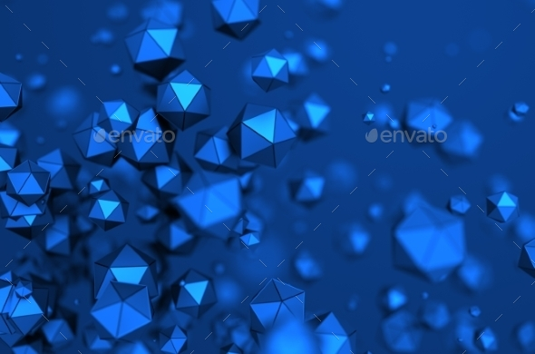 Abstract 3D Rendering Of Low Poly Spheres. - Abstract 3D Renders