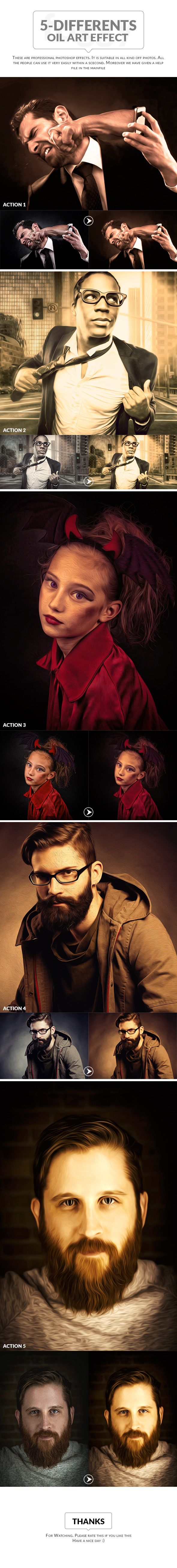 5-Differents Oil Art effect - Photo Effects Actions
