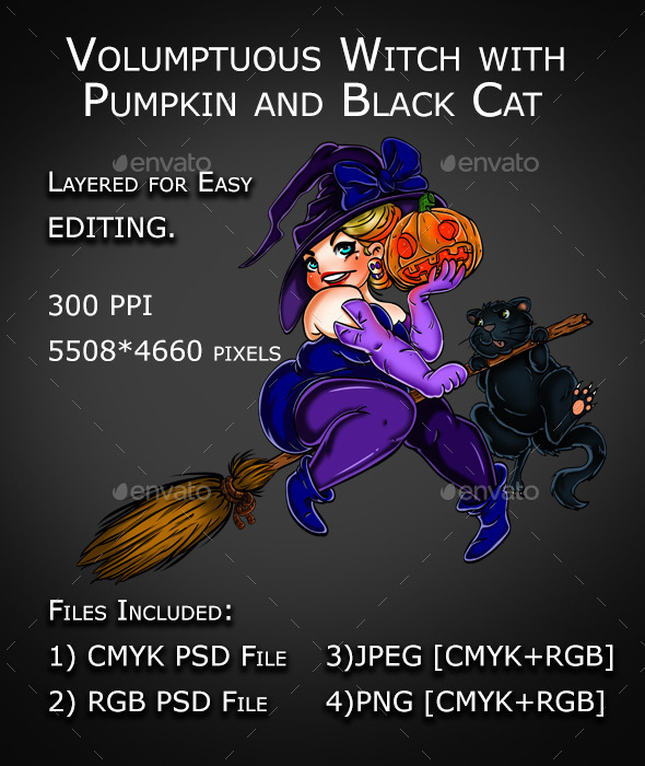 Funny Halloween Witch with Black Cat and Pumpkin