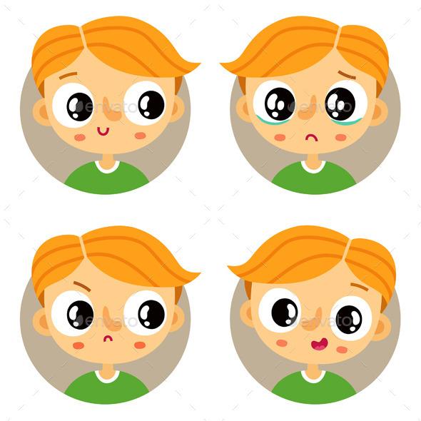 Set of Young Boy Emotion Badges