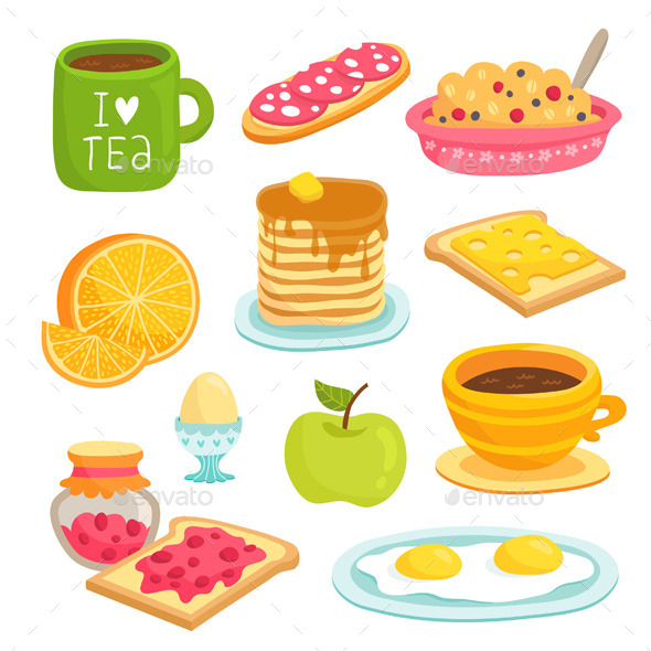 Set of Breakfast Products