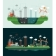 Set Of Flat Design Conceptual Ecological Banners - GraphicRiver Item for Sale