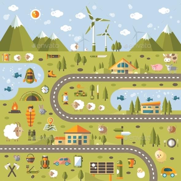 Modern Flat Design Conceptual Landscape - Nature Conceptual