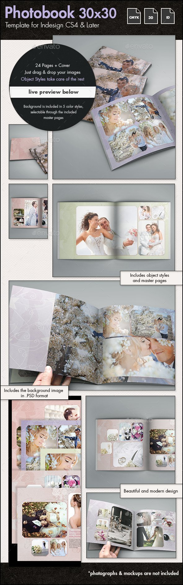 Photobook Wedding Album Template 30x30cm