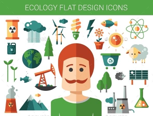 Modern Flat Design Conceptual Ecological Icons - Nature Conceptual