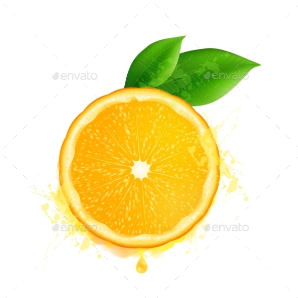 Vector Orange Slice With Leaves And Watercolor - Food Objects