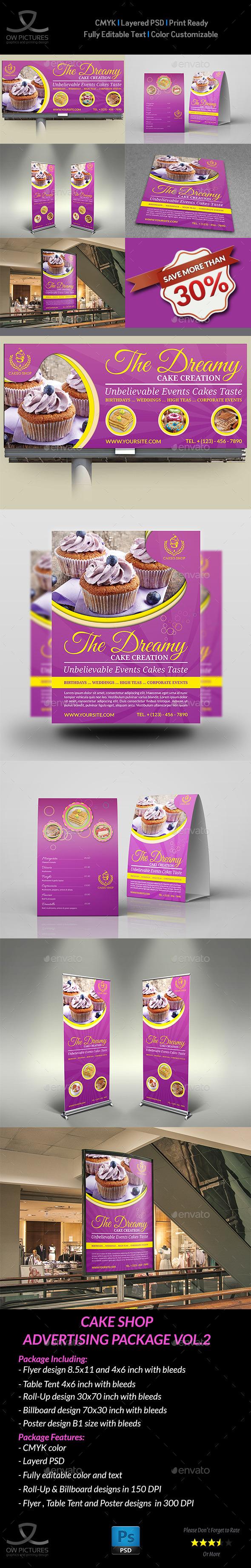 Cake Shop Advertising Bundle Vol.2 - Signage Print Templates