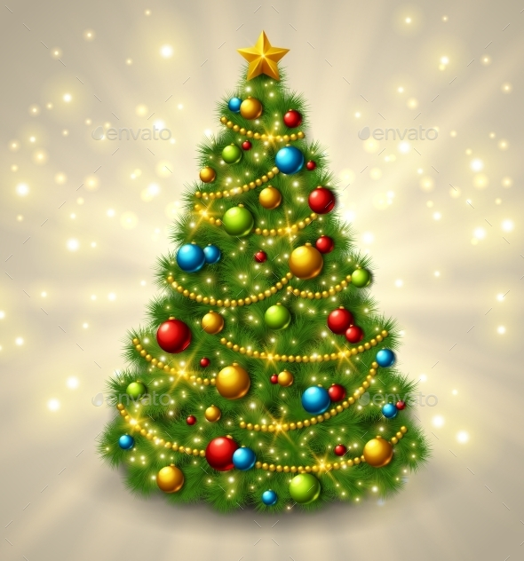 Christmas Tree With Colorful Baubles And Gold Star - Christmas Seasons/Holidays